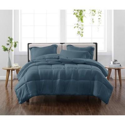 Full/Queen 3pc Solid Comforter Set Dark Blue - Cannon Heritage