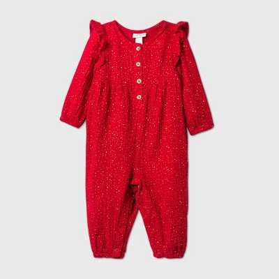 Baby Girls' Gauze Romper - Cat & Jack™ Red 0-3M