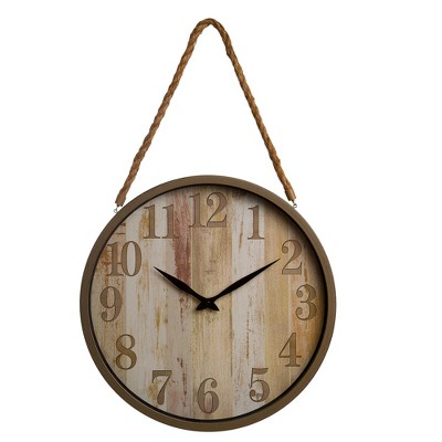 16  Distressed Woodgrain with Rope Accent Wall Clock Wood - Patton Wall Decor