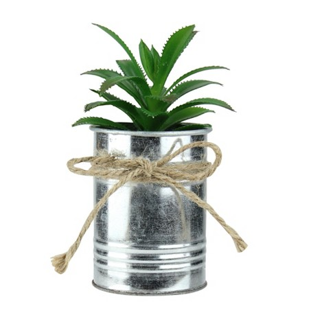 """Northlight 6"""" Tropical Artificial Plant in Tin Planter - Green/Silver - image 1 of 3"""