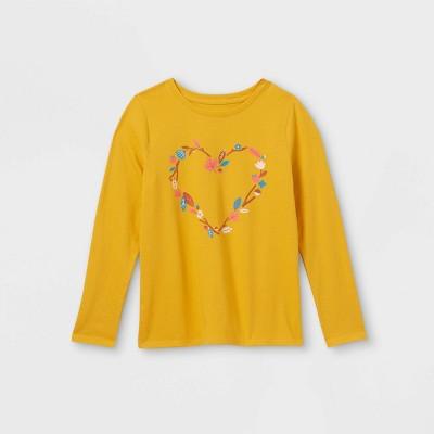 Girls' Printed Graphic Long Sleeve T-Shirt - Cat & Jack™ Mustard Yellow