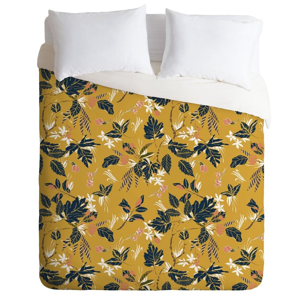 Full/Queen Marta Barragan Camarasa Floral Duvet Set Yellow - Deny Designs