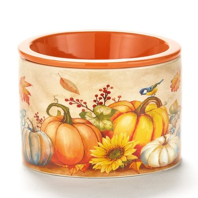 Lakeside Stoneware Dip Chiller Bowl with Fall Pumpkin Harvest Theme for Thanksgiving