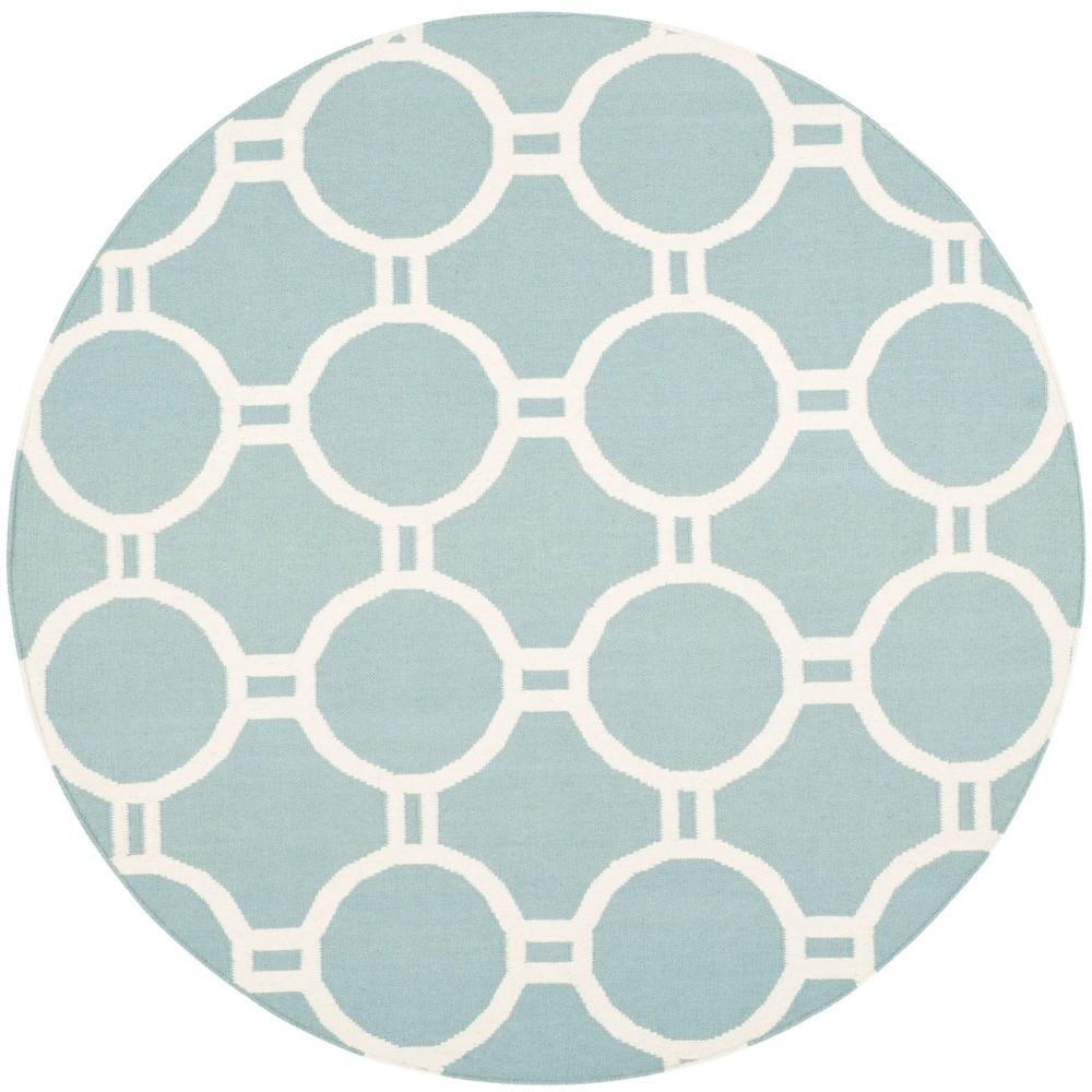 Dhurries Rug Light Blue Ivory 6 X6 Round Safavieh