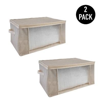 Simplify 2pk Blanket Storage Bags Beige