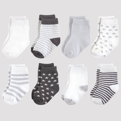 Touched by Nature Baby 8pk Stars Organic Cotton Socks - Charcoal 0-6M