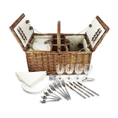 Picnic Basket Set for 4 Person, Includes Silverware, Glasses and Accessories