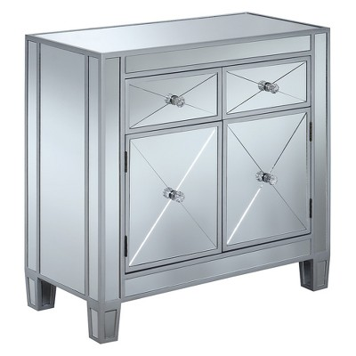 Gold Coast Vineyard 2 Drawer Mirrored Hall Table Silver - Breighton Home : Target