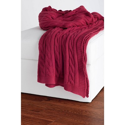 Red Cable Knit Throw - Rizzy Home