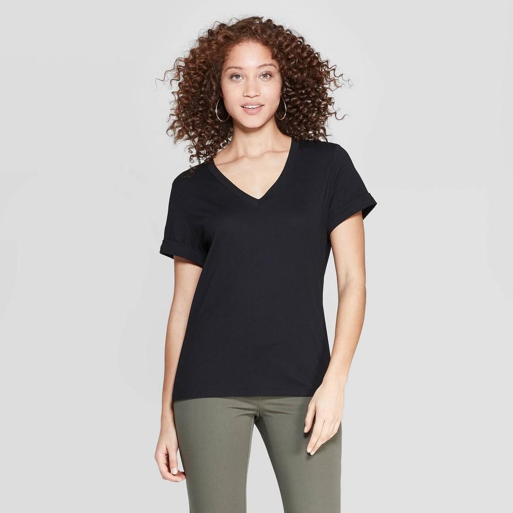 Women's Slim Fit Short Sleeve V-Neck T-Shirt - A New Day Black Xxl