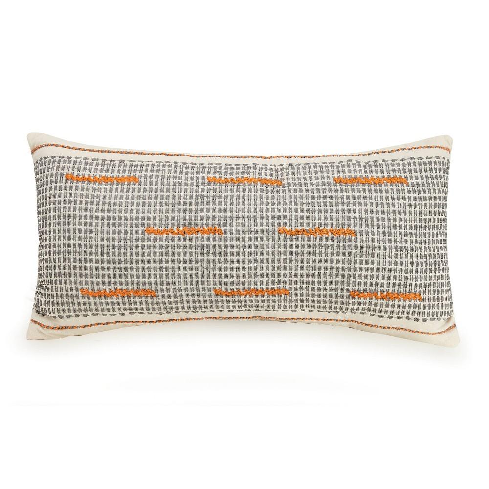 Image of Lumbar Decorative Throw Pillow White/Orange/Gray - Ayesha Curry