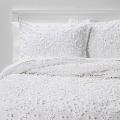 King Clipped Chenille Comforter & Sham Set White - Threshold™