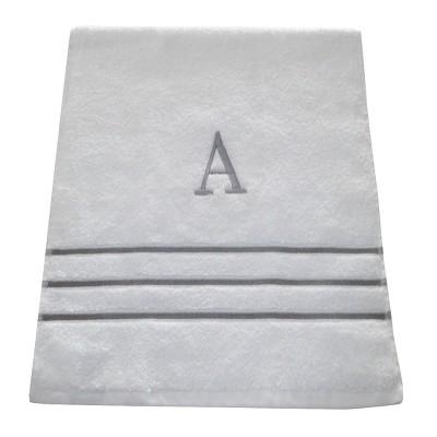 Monogram Hand Towel A - White/Skyline Gray - Fieldcrest®