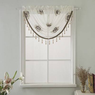 """Ramallah Trading Oslo Embroidered Window Swag Valance With 2"""" Rod Pocket - 47x37"""""""