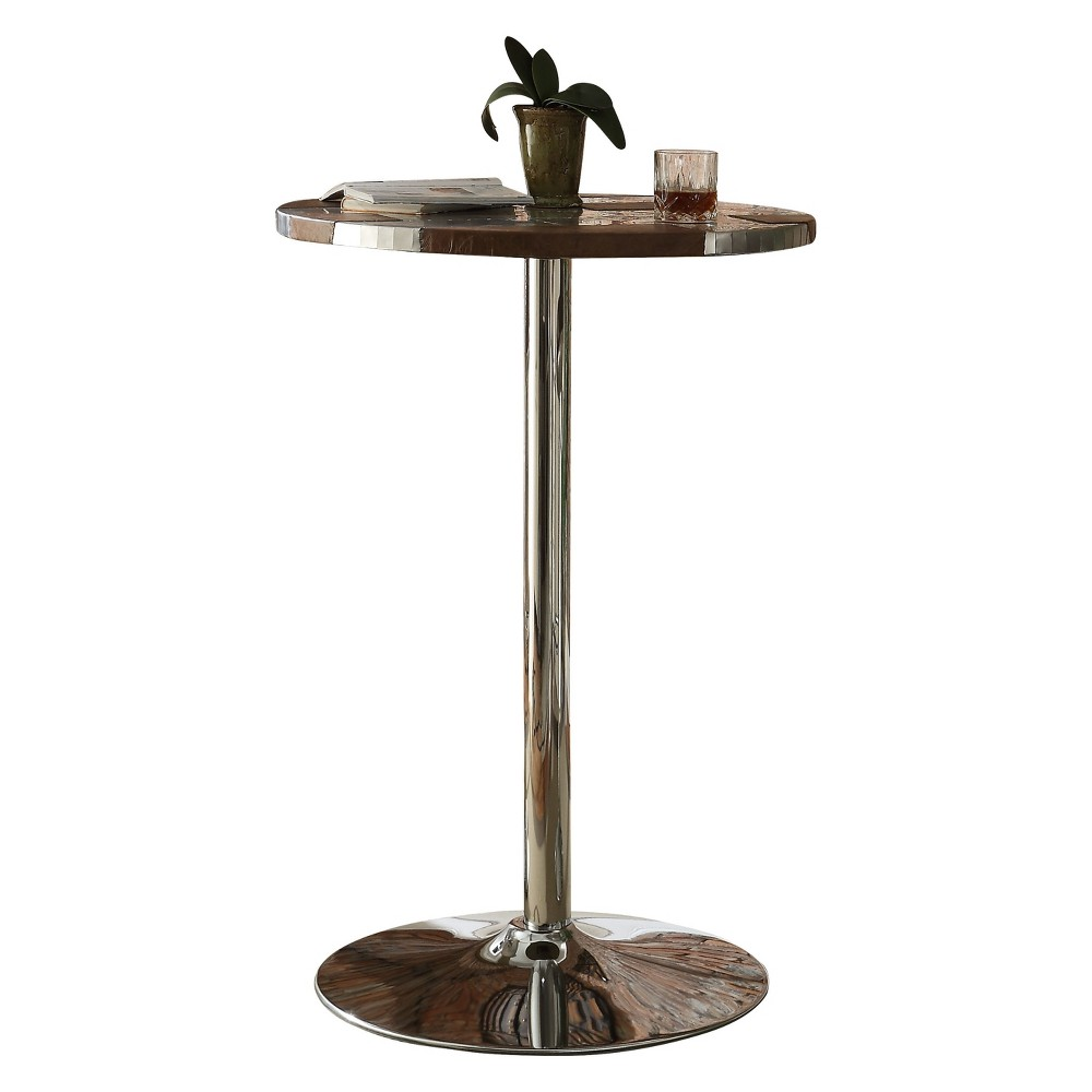 Acme Furniture Brancaster Bar Table Retro Brown/Aluminum (Brown/Silver)