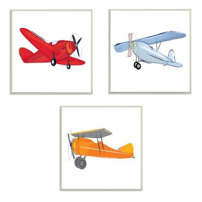 3pc 12 x0.5 x12  Triple Colorful Airplanes Drawing Wall Plaque Art Set - Stupell Industries