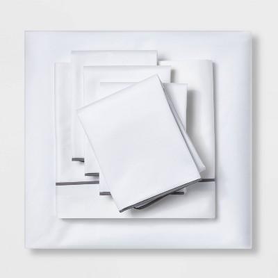 King 6pc 600 Thread Count Hotel Sheet Set White/Gray - Threshold Signature™