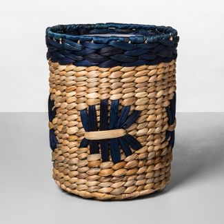 Woven Pattern Bathroom Wastebasket Natural/Blue - Opalhouse™