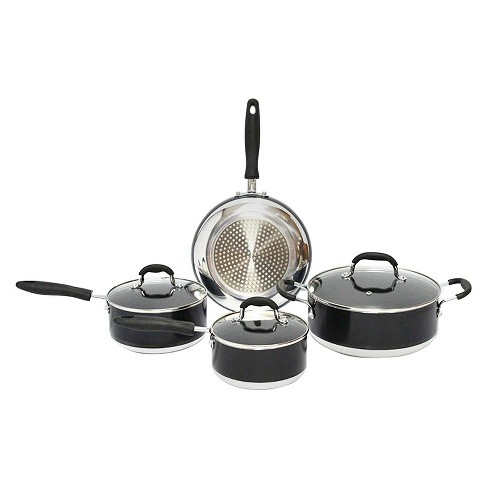 Gourmet Chef 7 Piece Induction Ready Non Stick Cookware Set - Black - image 1 of 1