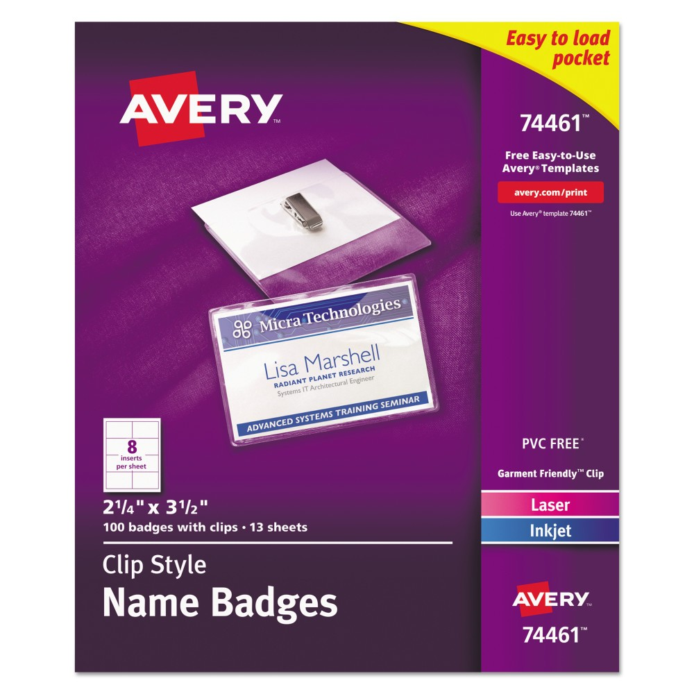 Image of Avery Badge Holder Kit w/Laser/Inkjet Insert, Top Load, 2 1/4 x 3 1/2, White, 100/BX, Size: Small, Clear White