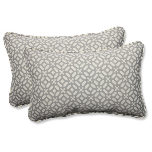 Pillow Perfect In The Frame Pebble Outdoor Throw Pillow Set - Gray - image 1 of 1