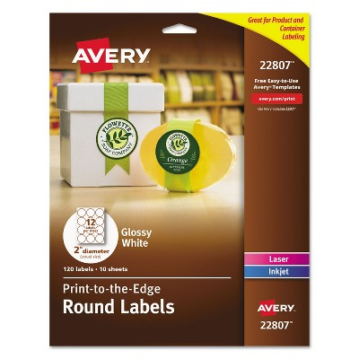 "Avery Round True Print Labels 2"" dia White 120/Pack 22807"