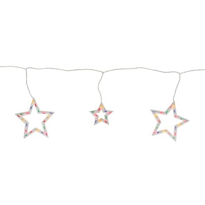 Northlight 100ct Star Shaped Mini Icicle Christmas Lights Multi-Color - 7' White Wire