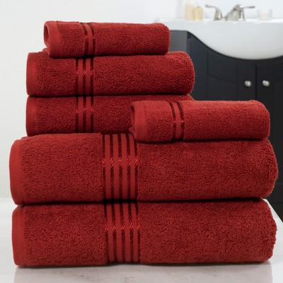Solid Bath Towels And Washcloths 6pc Burgundy - Yorkshire Home