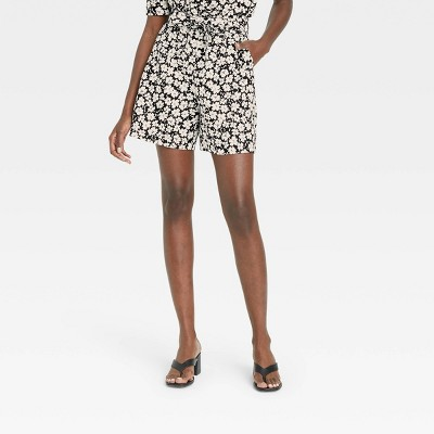 Women's Floral Print High-Rise Shorts - Who What Wear™ Jet Black