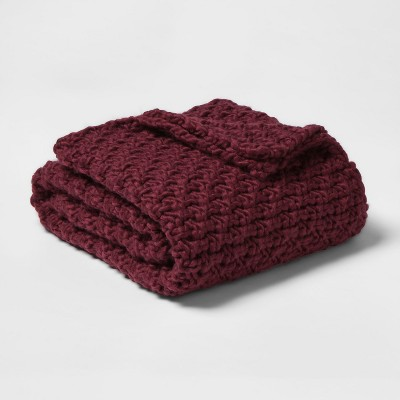 60 x50  Chunky Knit Throw Blanket Berry - Threshold™