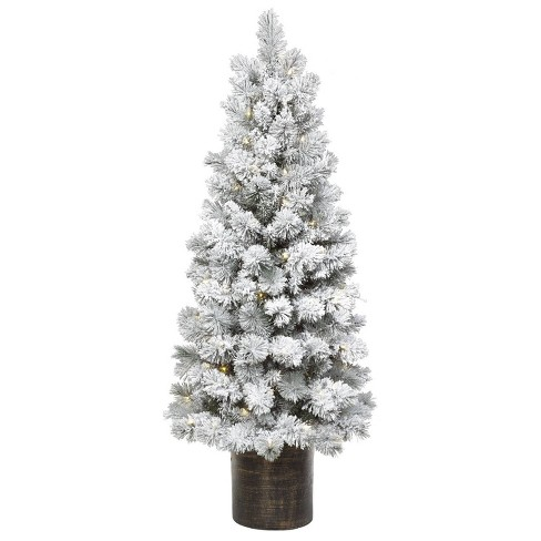 Potted Christmas Tree.5ft Pre Lit Artificial Christmas Tree Potted Flocked Slim Virginia Pine Clear Lights Wondershop