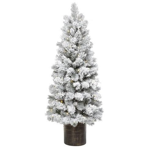 Slim Christmas Tree.5ft Pre Lit Artificial Christmas Tree Potted Flocked Slim Virginia Pine Clear Lights Wondershop