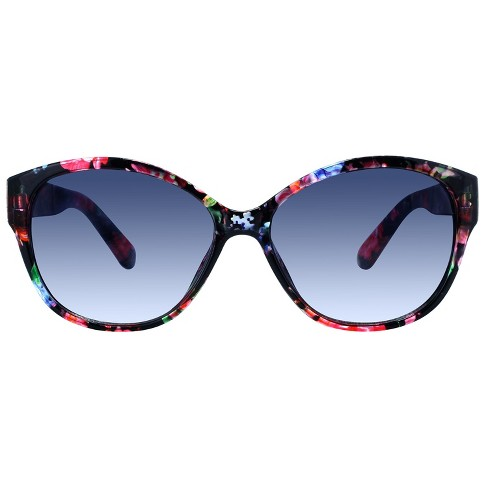Women's Floral Cateye Sunglasses - A New Day™ Black - image 1 of 2