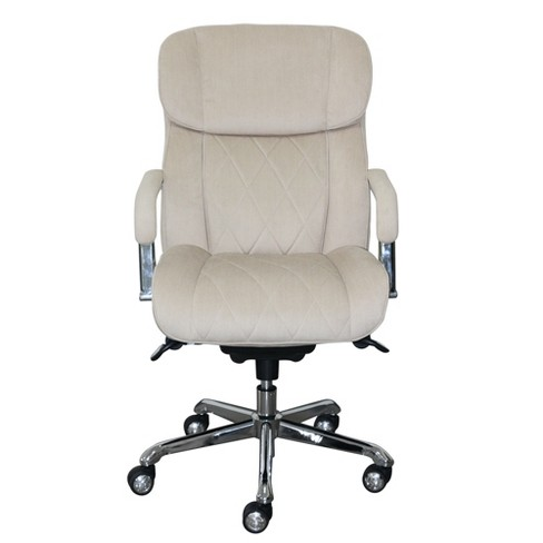 Sutherland Quilted Fabric Office Chair With Padded Arms Cream La Z