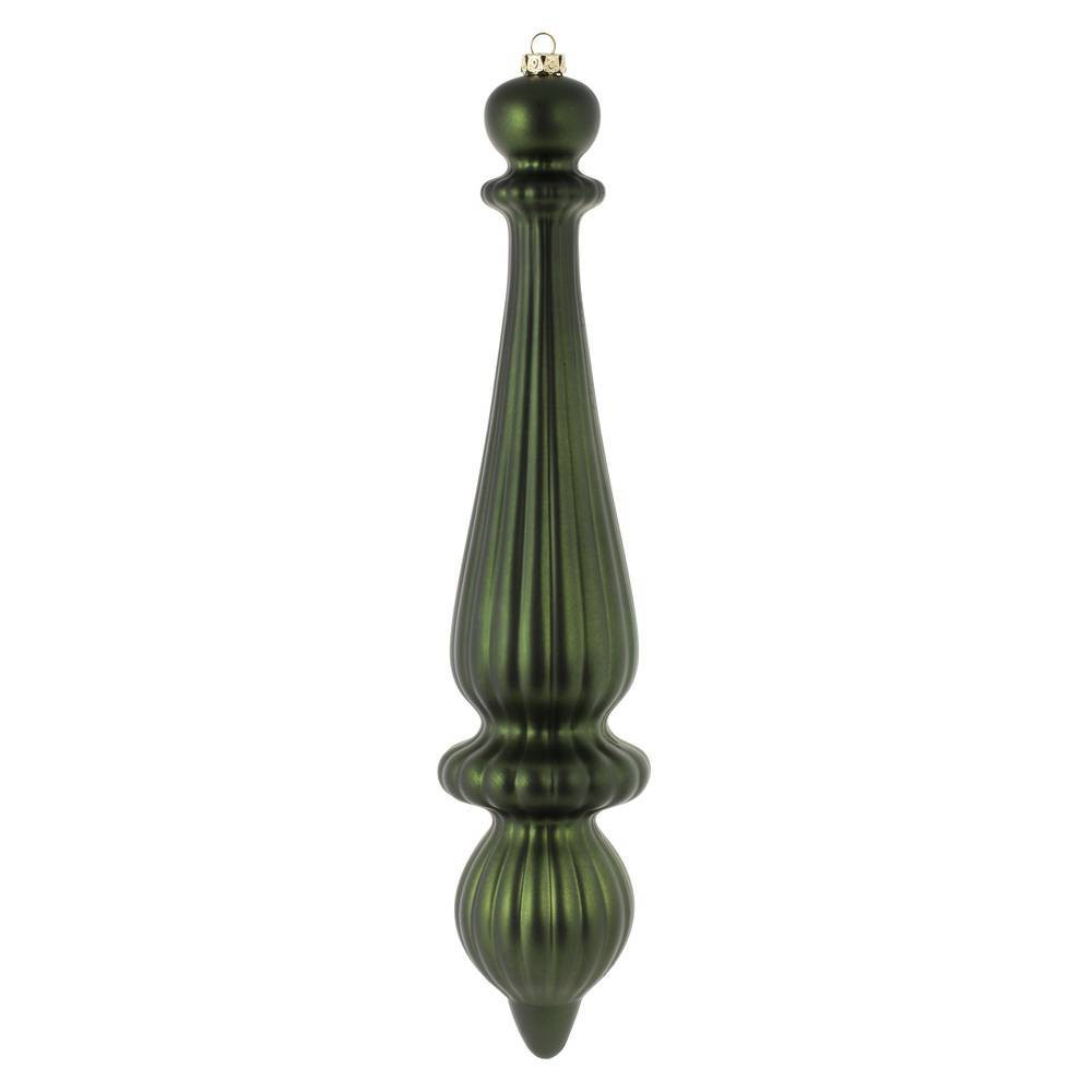 "Image of ""2ct Vickerman 14"""" Matte Finial Drop, UV Coated Ornament Set Moss Green"""