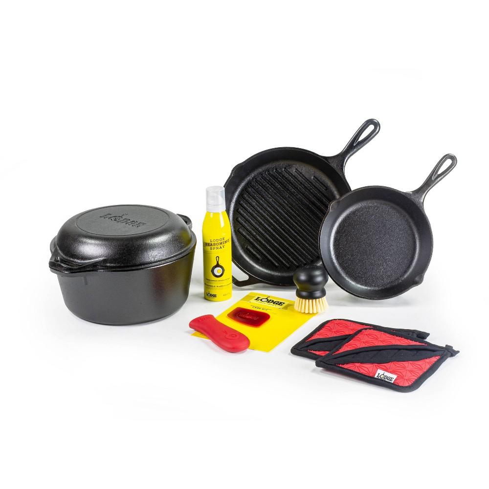 Image of Lodge 10pc Cast Iron Cookware Set, Black