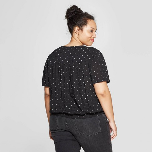 708f68808162 Women's Plus Size Floral Print Short Sleeve V-Neck Wrap Top - Universal  Thread™ Black