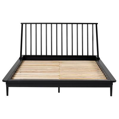 Queen Aurora Boho Solid Wood Spindle Bed Black - Saracina Home