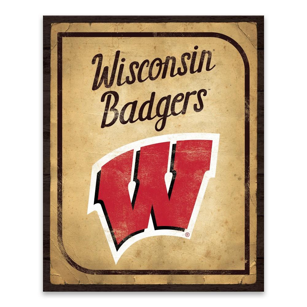 NCAA Wisconsin Badgers Vintage Card Printed Canvas
