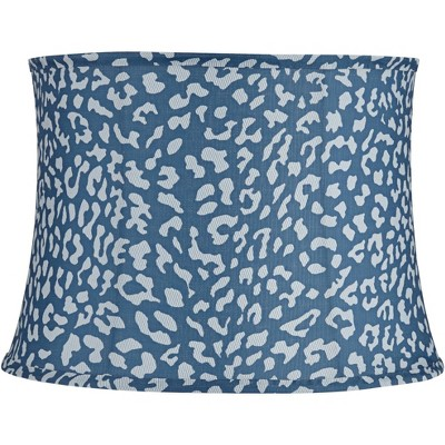 """Springcrest Blue Leopard Spot Medium Drum Lamp Shade 14"""" Top x 16"""" Bottom x 11.5"""" High (Spider) Replacement with Harp and Finial"""