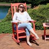 All-Weather Rocking Chair with Faux Wood Design - Single - Salmon - Sunnydaze Decor - image 3 of 4