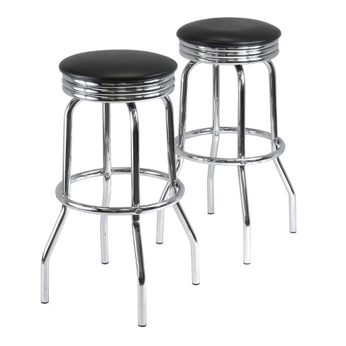 Summit 2 Piece Swivel Stools with Faux Leather - Black, Metal - Winsome - image 1 of 4