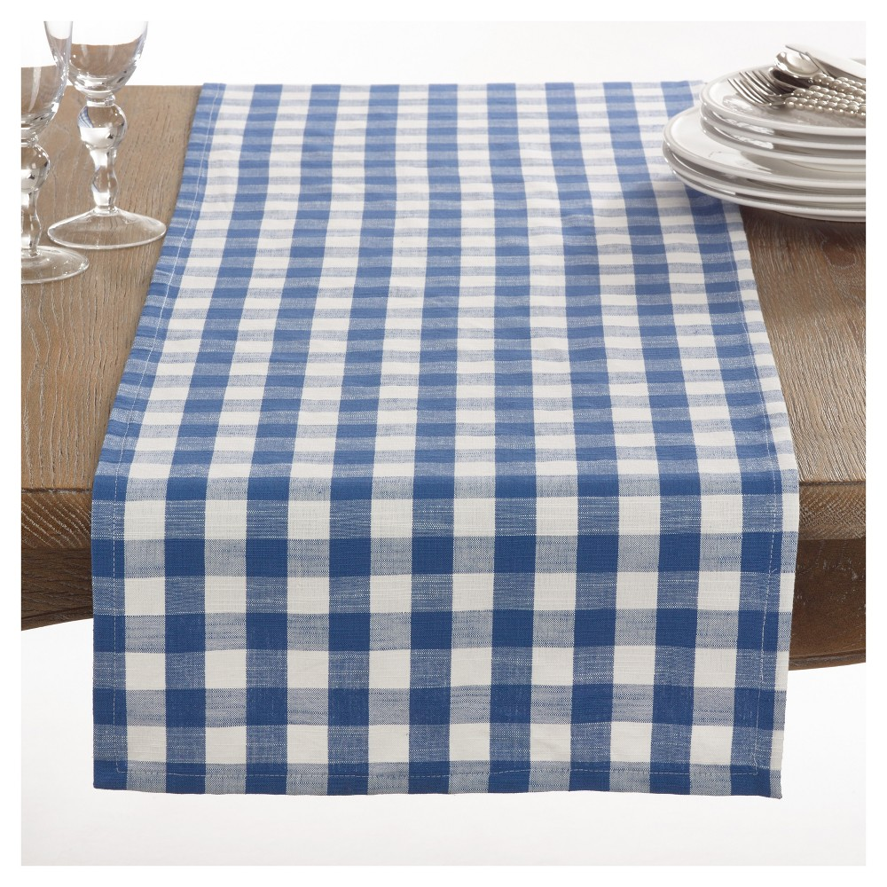 Blue Gingham Design Table Runner (16