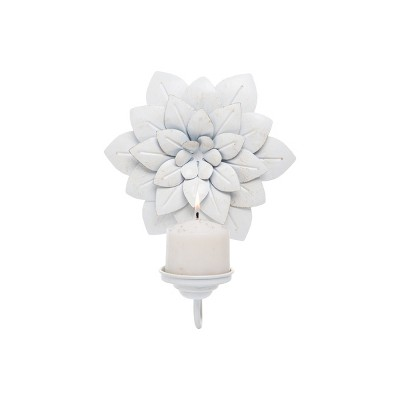 Distressed White Metal Floral Hanging Wall Sconce Pillar Candle Holder - Foreside Home & Garden