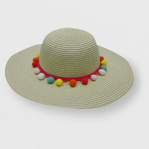 Toddler Girls  Paper Straw Floppy Hat With Poms - Cat   Jack™ Natural 2T-5T    Target 5639e0f889d