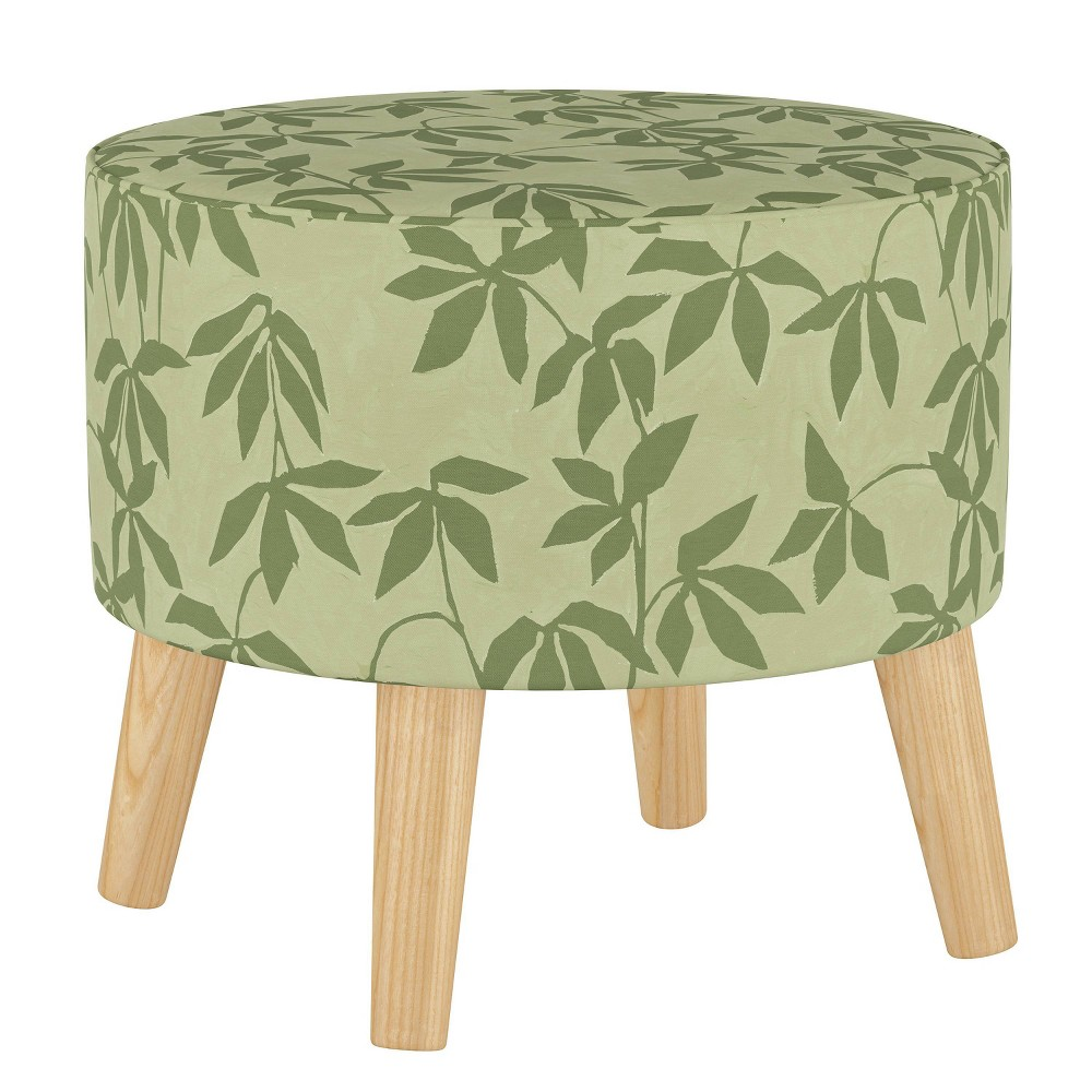 Round Ottoman With Splayed Legs Lyanna Floral Sage Tonal Skyline Furniture