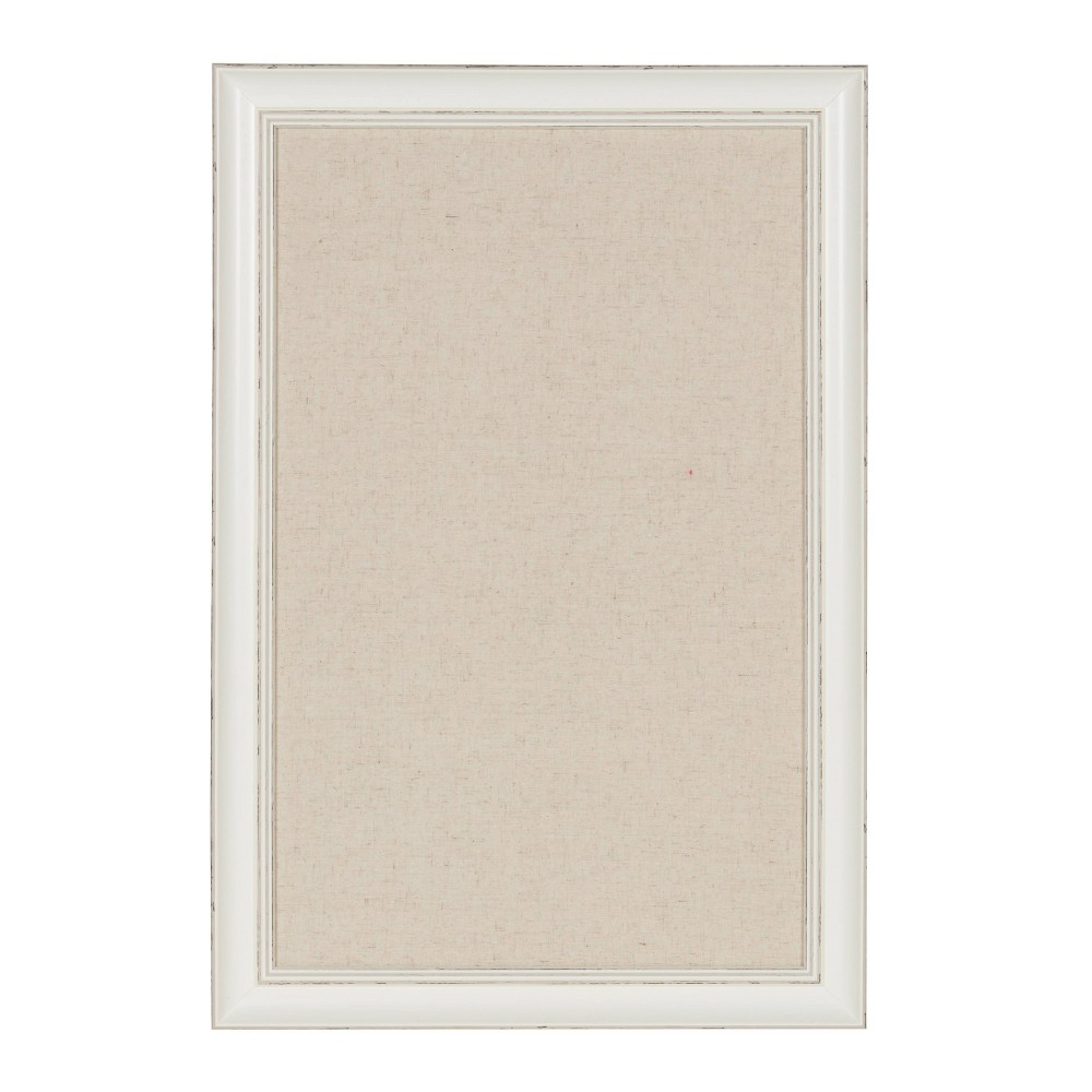 """Image of """"15"""""""" x 24"""""""" Macon Fabric Pinboard Distressed White - DesignOvation"""""""