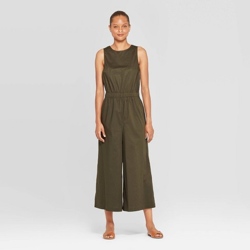 Women's Sleeveless Crew Neck Ankle Length Deep V-Back Jumpsuit - Prologue™ Olive - image 1 of 3
