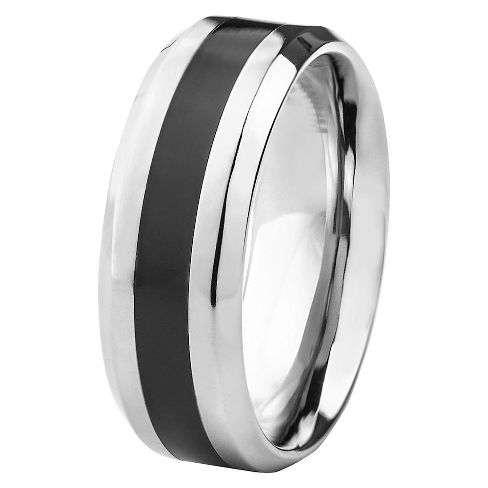 Men's Titanium Resin Inlay Ring - Black (8mm), Size: 13, Silver