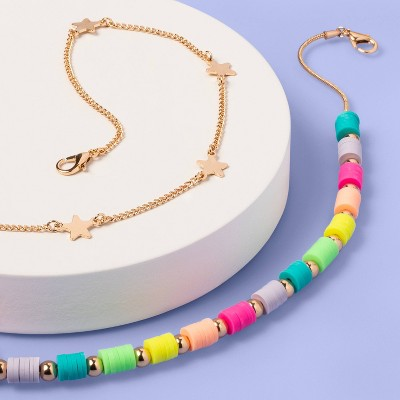 Girls' 2pk Rainbow Beaded and Star Chain Necklace - More Than Magic™